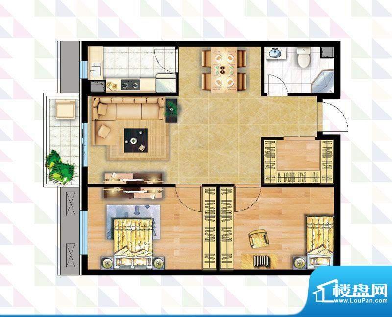 时代广场B-3户型 2室2厅1卫1厨面积:85.19平米