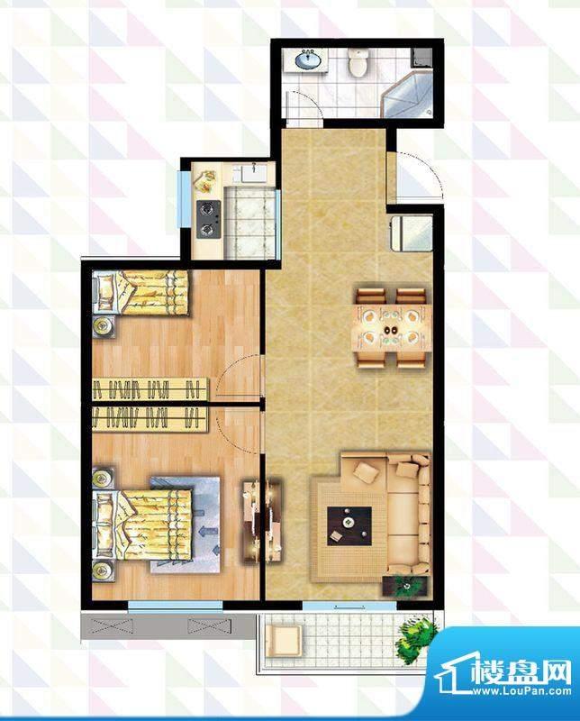 时代广场B-5反户型 2室2厅1卫1面积:84.51平米