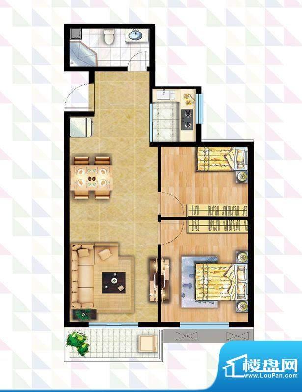 时代广场B-5户型 2室2厅1卫1厨面积:84.51平米