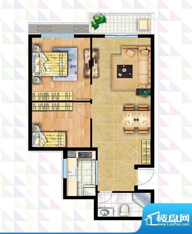 时代广场B-6反户型 2室2厅1卫面积:82.38平米