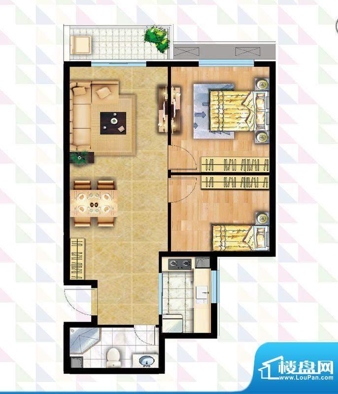 时代广场B-6户型 2室2厅1卫1厨面积:82.38平米