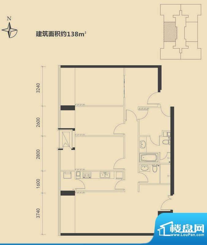 富力·盛悦居3居户型图 3室2厅面积:138.00平米