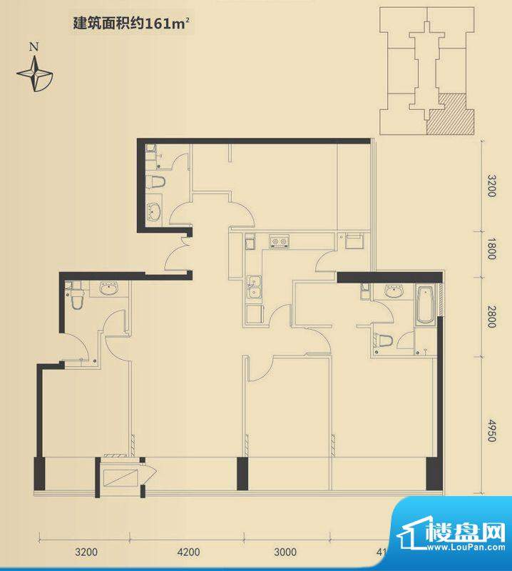 富力·盛悦居4居户型图 4室2厅面积:161.00平米