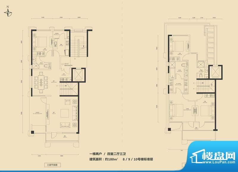 富力·盛悦居8/9/10叠拼F户型 面积:180.00平米