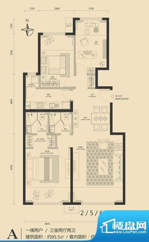 富力·盛悦居A户型图 3室2厅2卫面积:95.50平米