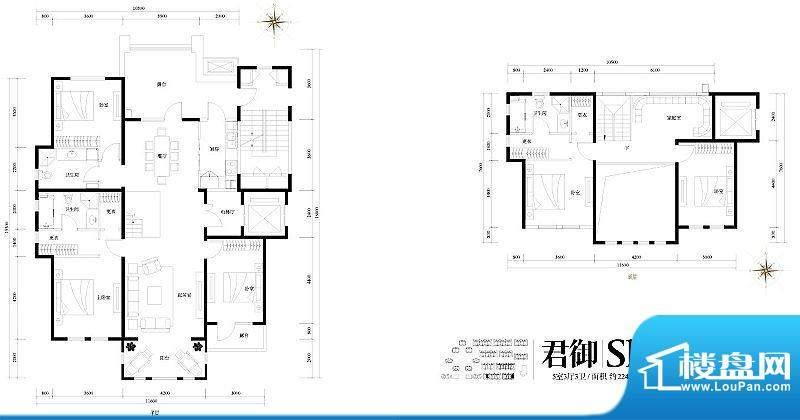 旭辉御府君御Sh户型图 5室3厅3面积:224.00平米