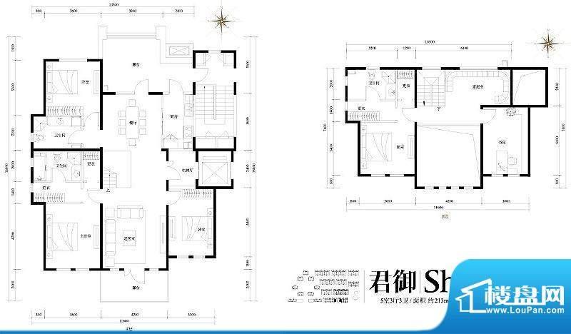 旭辉御府君御Sh'户型图 5室3厅面积:213.00平米