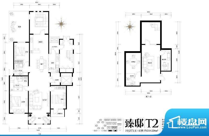 旭辉御府臻邸T2户型图 3室2厅2面积:218.00平米