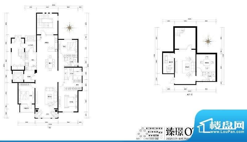 旭辉御府臻璟O2户型图 3室2厅2面积:251.00平米
