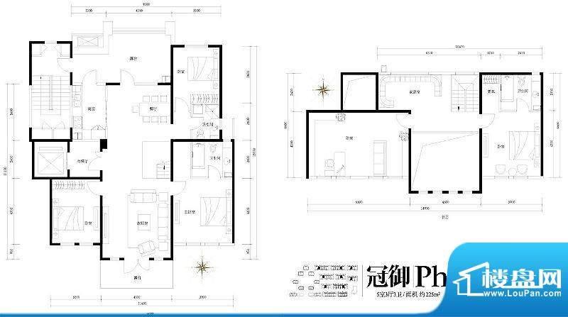 旭辉御府冠御Ph'户型图 5室3厅面积:225.00平米
