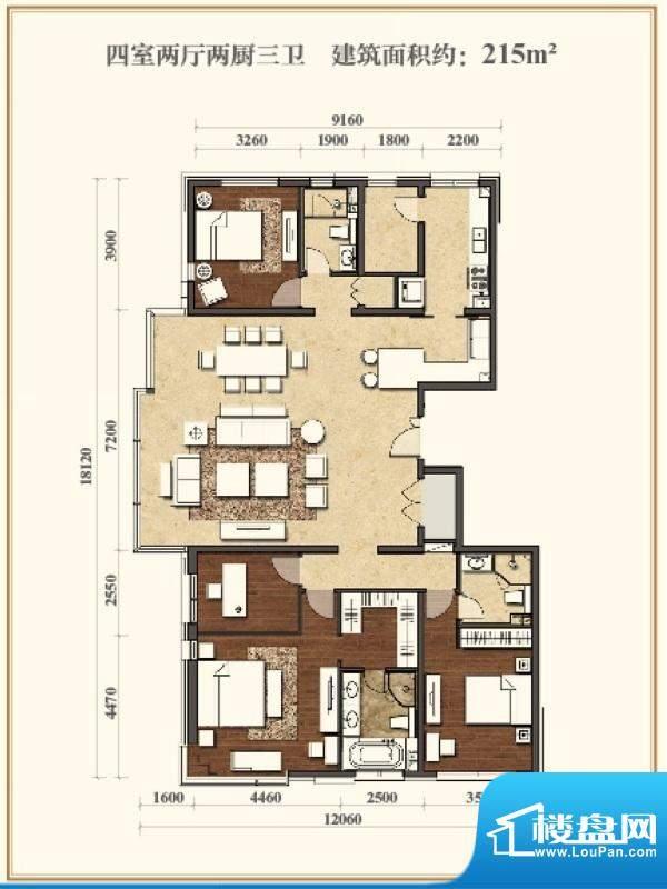招商嘉铭·珑原B3户型 4室2厅2面积:215.00平米