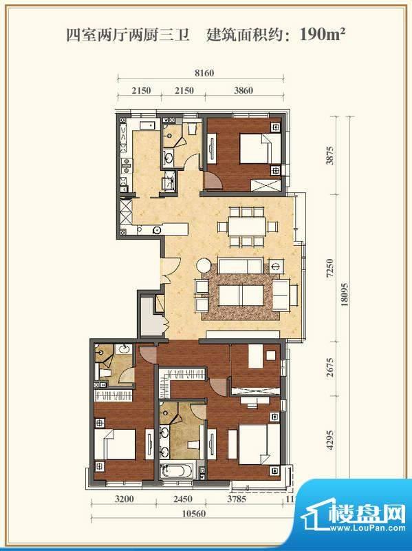 招商嘉铭·珑原C2户型 4室2厅3面积:190.00平米