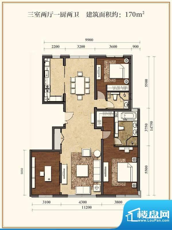 招商嘉铭·珑原D户型 3室2厅2卫面积:170.00平米