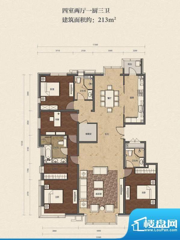 招商嘉铭·珑原B1-01户型 4室2面积:213.00平米
