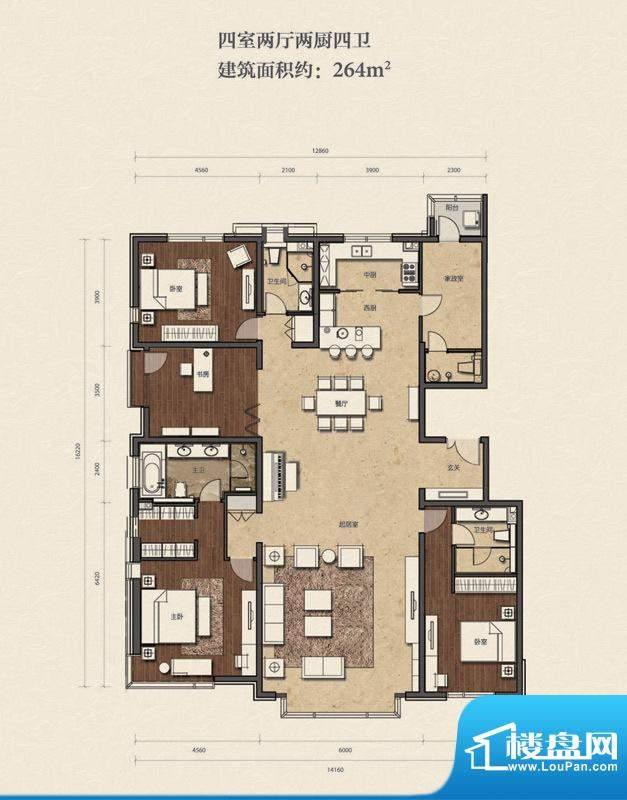 招商嘉铭·珑原A2-01户型 4室2面积:264.00平米