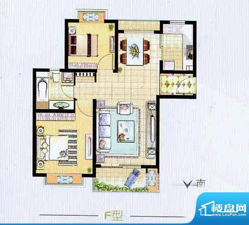 艺泰安邦6期F型户型图 2室2厅1面积:92.37平米