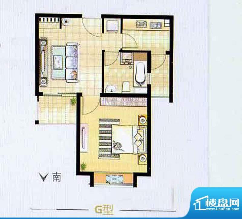 艺泰安邦6期G型户型图 1室2厅1面积:59.60平米