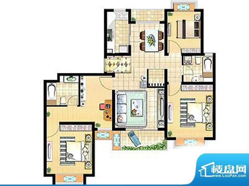 艺泰安邦84#,92# H型 4室2厅2卫面积:137.17平米