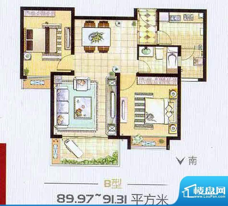艺泰安邦92# H型 4室2厅2卫1厨面积:137.00平米