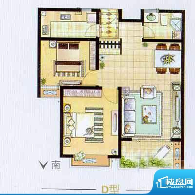 艺泰安邦B型户型图 2室2厅1卫1面积:91.31平米