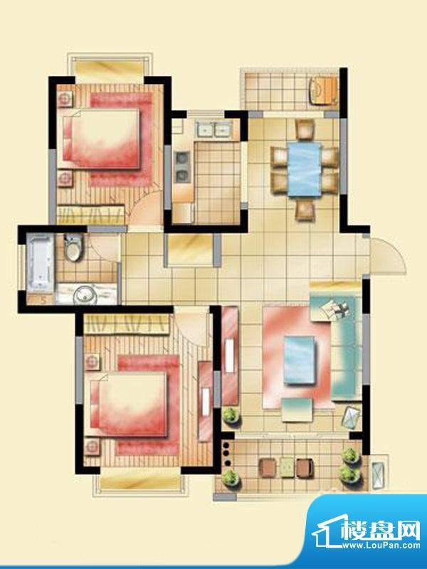 艺泰安邦D型户型图 2室2厅1卫1面积:90.58平米