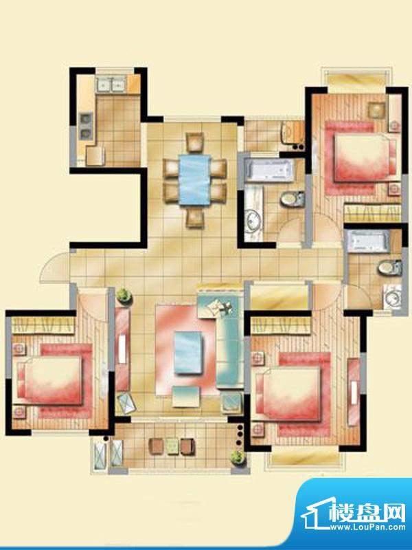 艺泰安邦F型 2室2厅1卫1厨面积:95.60平米