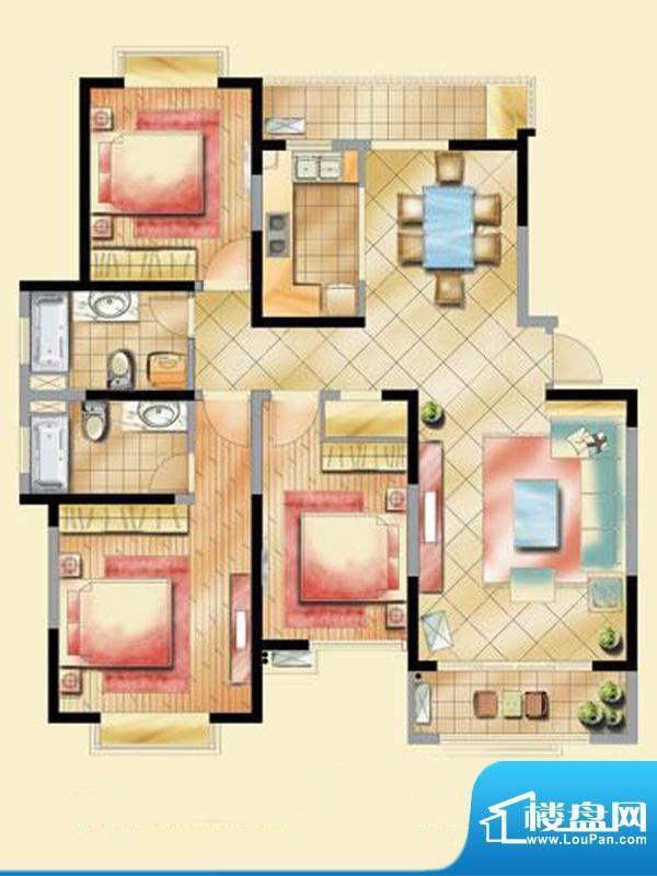 艺泰安邦F型 3室2厅2卫1厨面积:130.34平米
