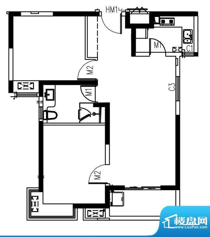 艺泰安邦103型 2室2厅1卫1厨面积:86.43平米