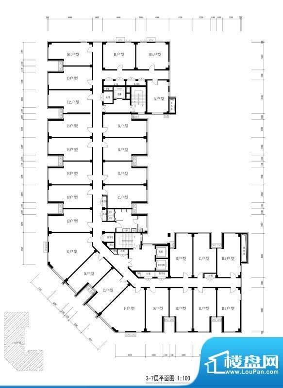 方嘉国际3-7层户型平面图