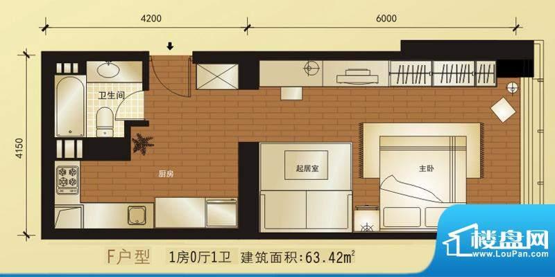 橡树公馆f户型图 1室1卫1厨面积:63.42平米