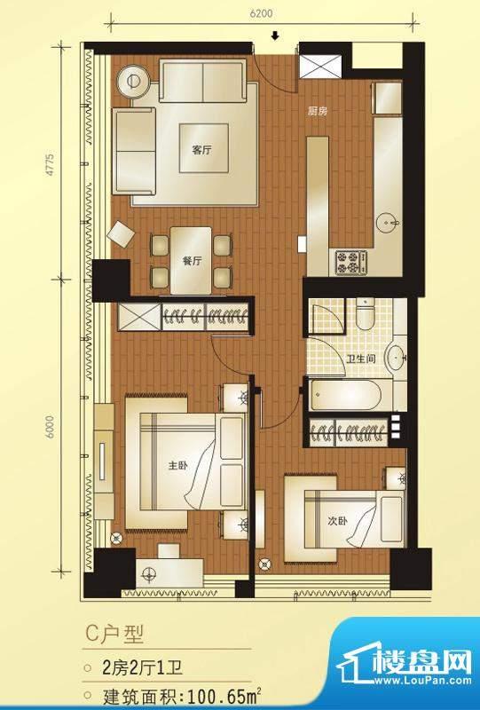 橡树公馆C户型图 2室2厅1卫1厨面积:100.65平米
