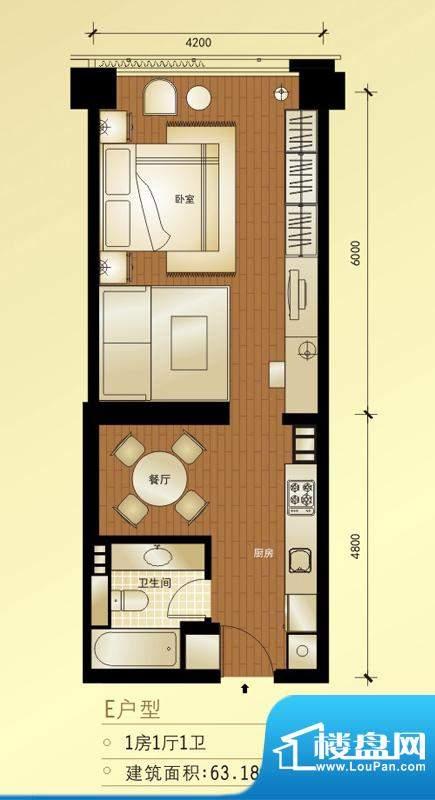 橡树公馆E户型图 1室1厅1卫1厨面积:63.18平米