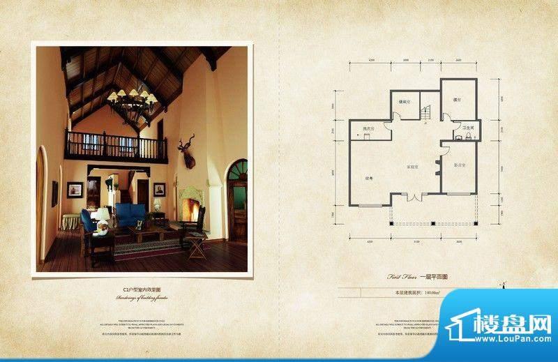 原乡梦得惜诺一层户型图 3室2厅面积:160.06平米