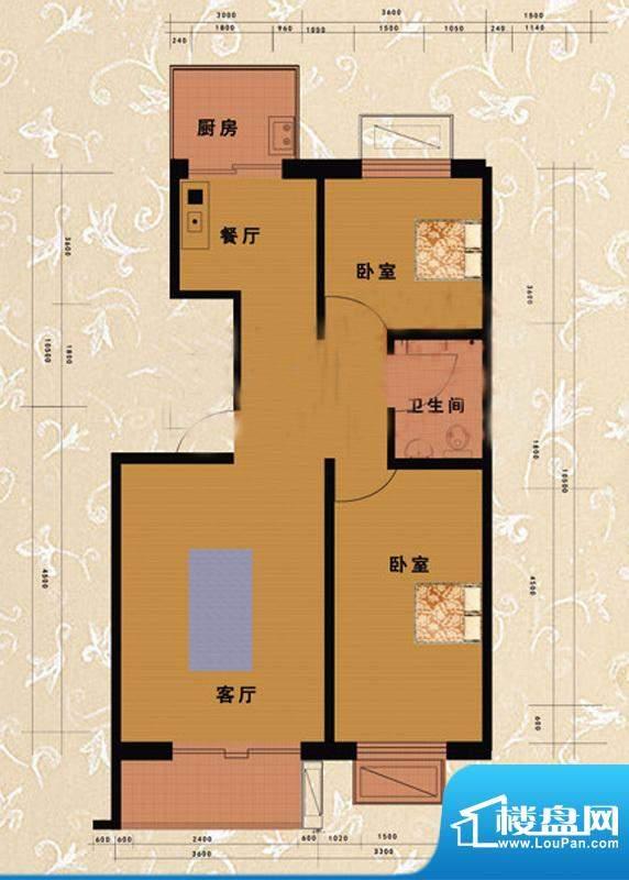 嘉益园G户型图 2室2厅1卫1厨面积:91.61平米