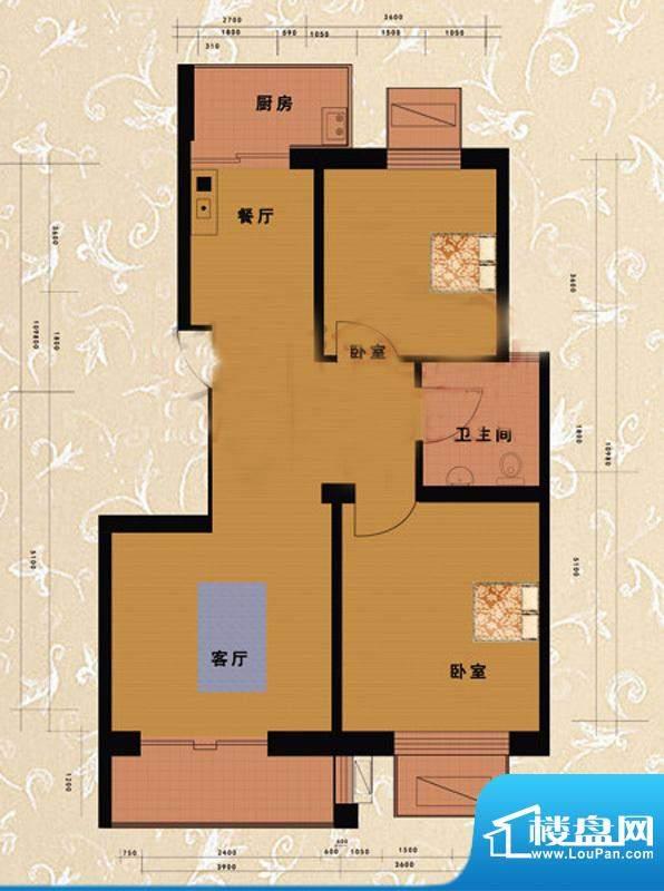嘉益园F户型图 2室2厅1卫1厨面积:91.58平米