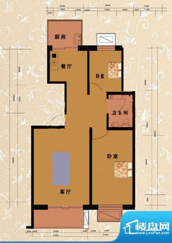 嘉益园C户型图 2室2厅1卫1厨面积:92.46平米