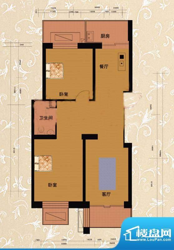 嘉益园D1户型图 2室2厅1卫1厨面积:88.91平米