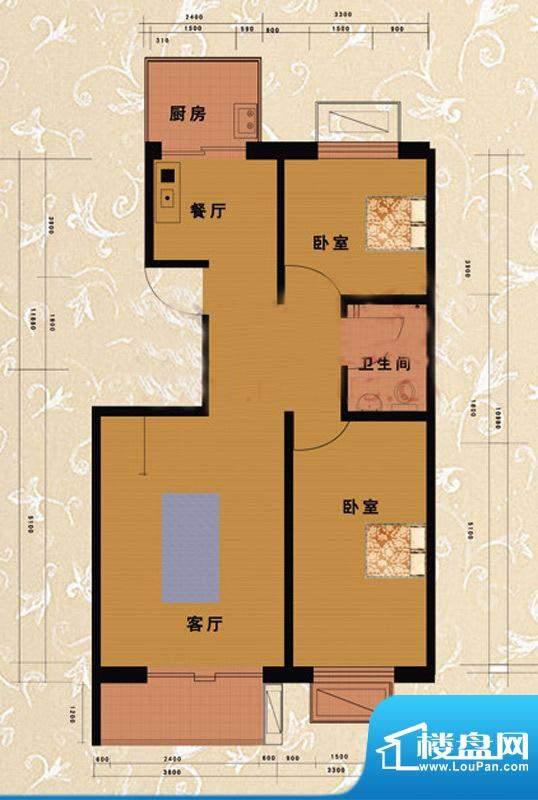 嘉益园B户型图 2室2厅1卫1厨面积:95.14平米