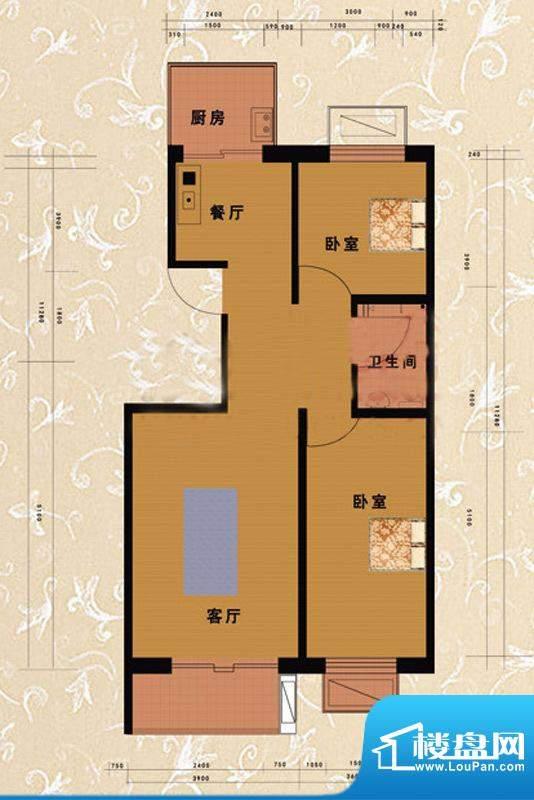 嘉益园A户型图 2室2厅1卫1厨面积:86.74平米