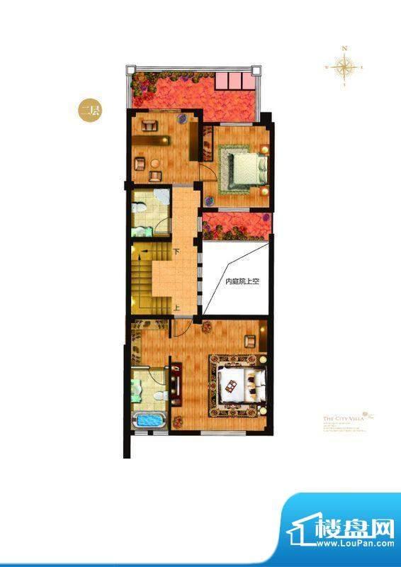 城与墅c'1户型二层4室3厅4卫