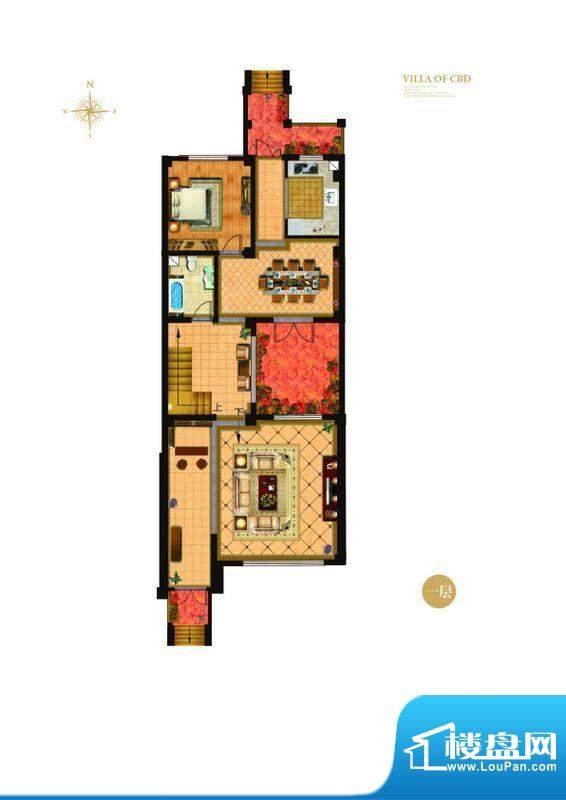 城与墅c'1户型一层4室3厅4卫