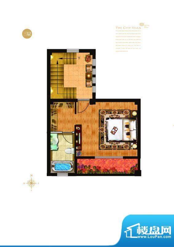 城与墅c1户型三层 4室3厅4卫1厨