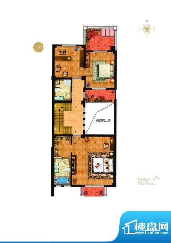 城与墅c2户型二层 4室3厅4卫1厨