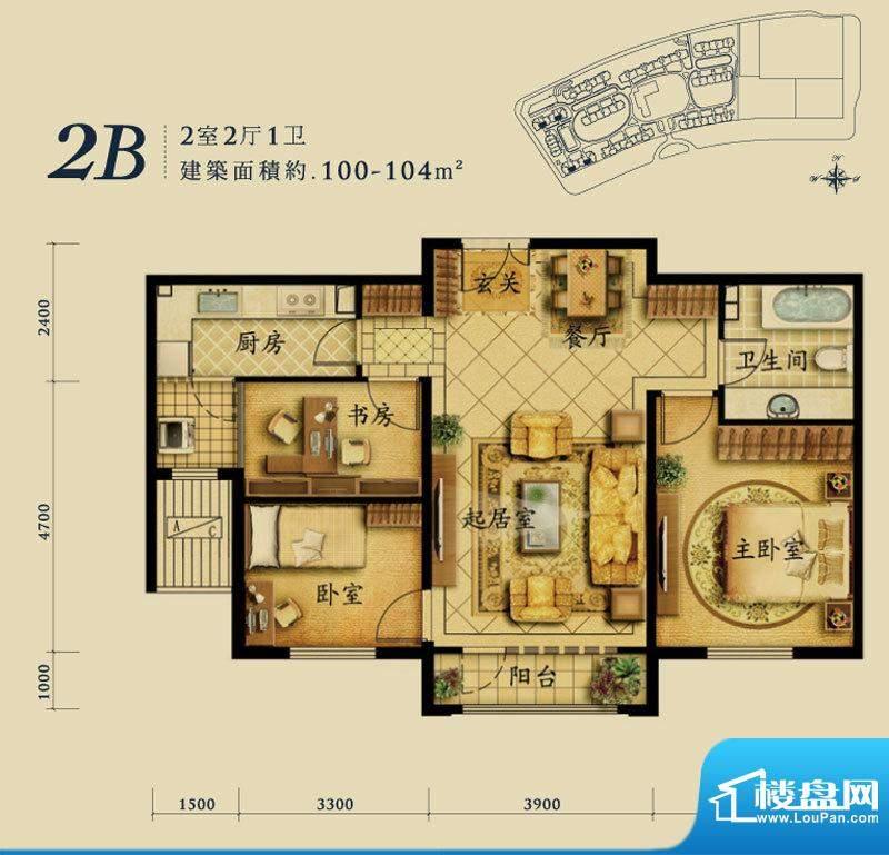 融科钧廷2B户型 2室2厅1卫1厨面积:100.00平米