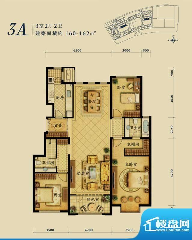 融科钧廷3A户型 3室2厅2卫1厨面积:160.00平米