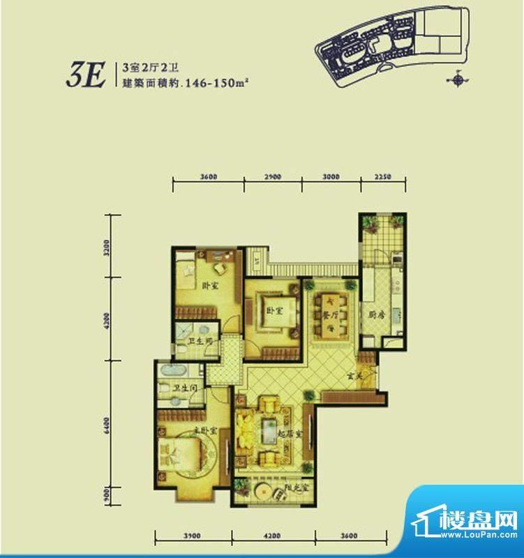 融科钧廷3E户型 3室2厅2卫1厨面积:145.00平米