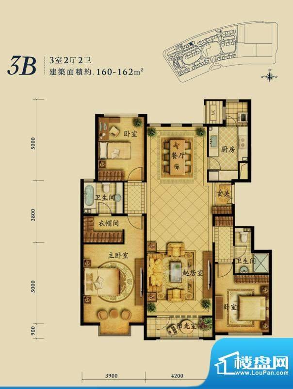 融科钧廷3B户型 3室2厅2卫1厨面积:160.00平米