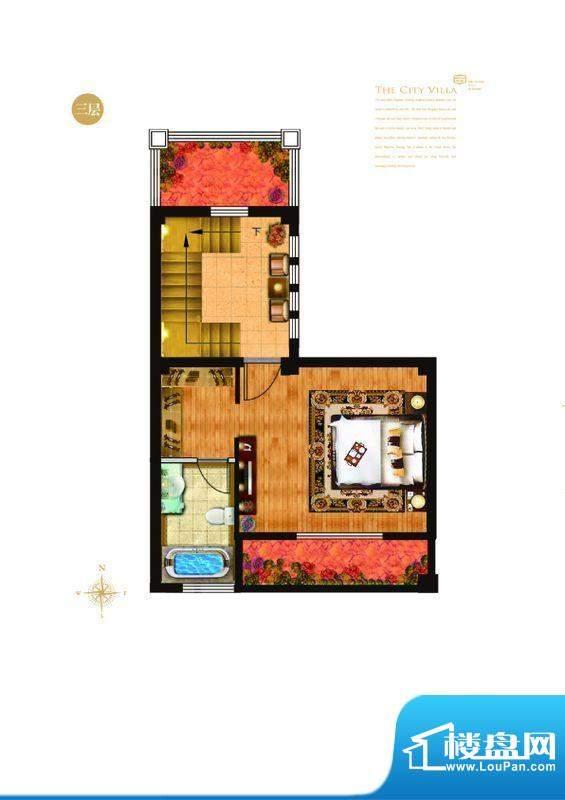 城与墅c2户型三层 4室3厅4卫1厨