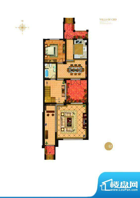 城与墅c2户型一层 4室3厅4卫1厨