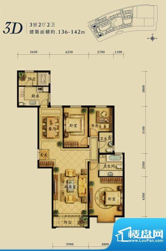 融科钧廷3D户型 3室2厅2卫1厨面积:136.00平米